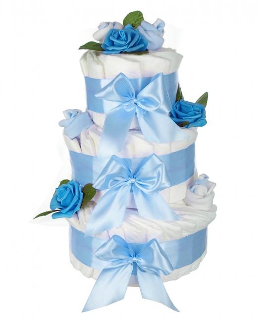 Windeltorte rosenblüte inkl babysocken blau