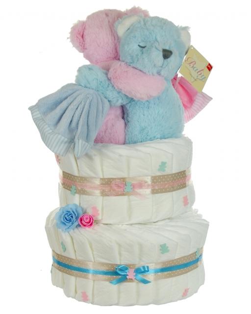 auf Wunsch mit Gru/ßk/ärtchen Windeltorte f/ür M/ädchen Jungen rosa Zwillinge Windelwagen Babyparty Geburt oder Taufe Geschenk